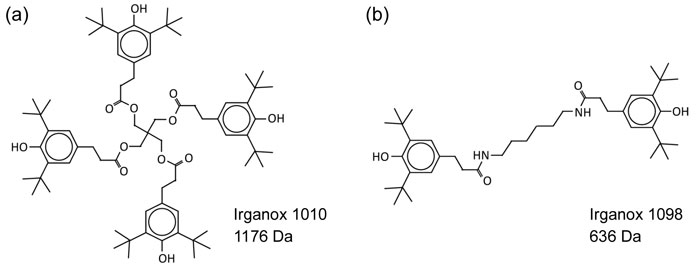 Chemical structure of Irganox 1010 and Irganox 1098
